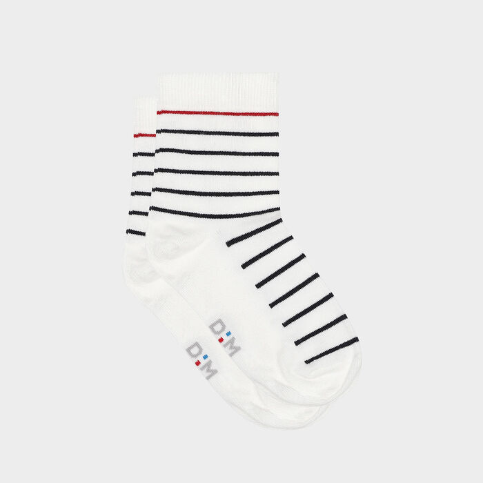 Women's cotton sock with blue, white and red stripes print Made in France, , DIM