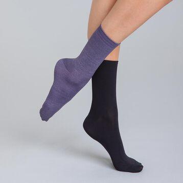 Lot de 2 chaussettes noires et lilas Skin Femme-DIM