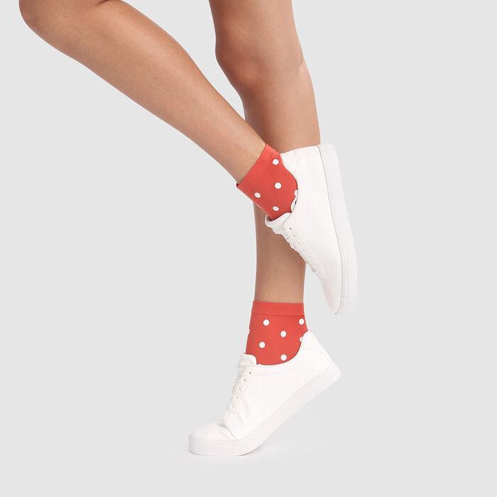 Fancy socks in apple red with retro polka dot print 40D Dim Style, , DIM
