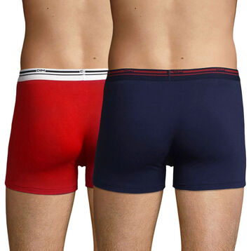 Lot de 2 boxers coton stretch Rouge Lave et Bleu Denim Daily Colors, , DIM