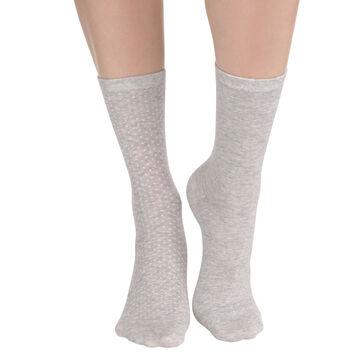 Lot de 2 paires de chaussettes gris chiné à plumetis Femme-DIM