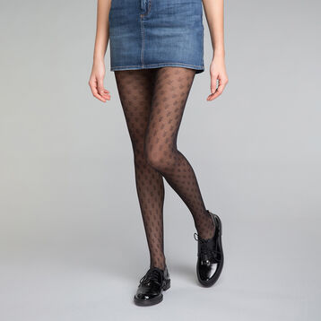 Herringbone pattern black 20 tights - DIM Style, , DIM