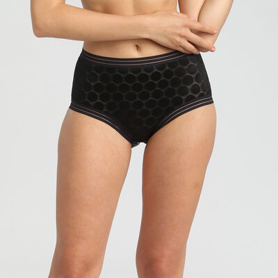 Shaping Dots black polka dot high-waist shaping briefs, , DIM