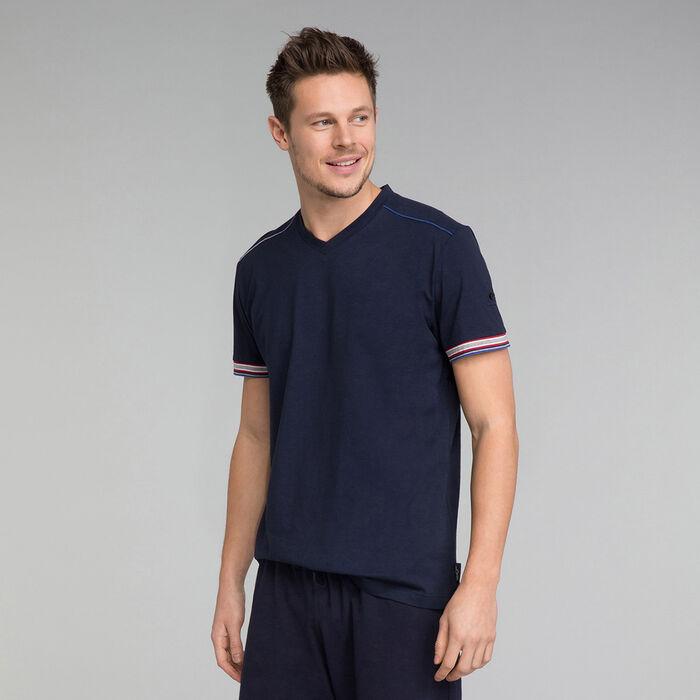 Navy blue t-shirt with V neckline - Mix and Match, , DIM
