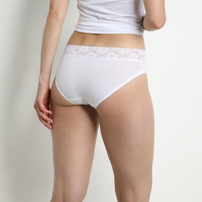 Pack of 2 pairs of Coton Plus Féminine midi knickers in white, , DIM