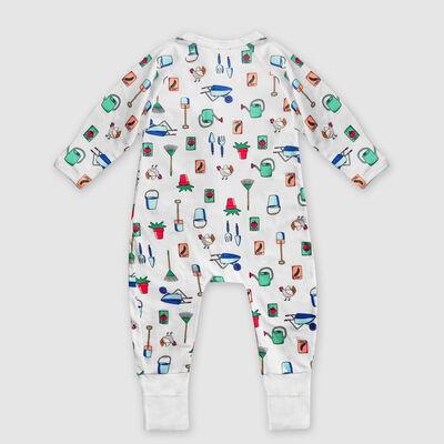 """Белая хлопковая пижама на молнии с принтом """"Сад"""" Dim Baby, , DIM"""