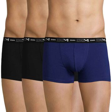 Set of 3 DIM Coton Stretch black and indigo blue boxers - DIM