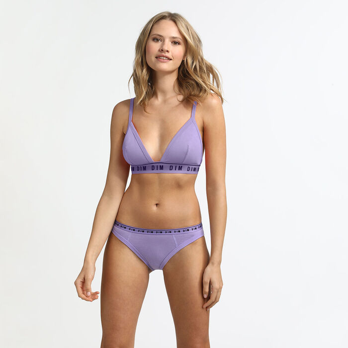 Underwired triangle bra in lilac cotton Originals Cotton, , DIM