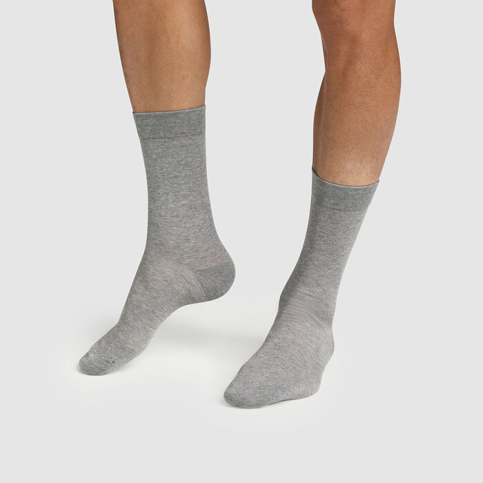 Green by Dim pack of 2 pairs of men's cotton and lyocell socks Grey, , DIM