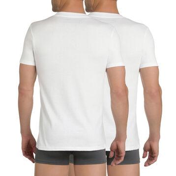 Lot de 2 t-shirts blancs col rond 100% coton EcoDIM-DIM