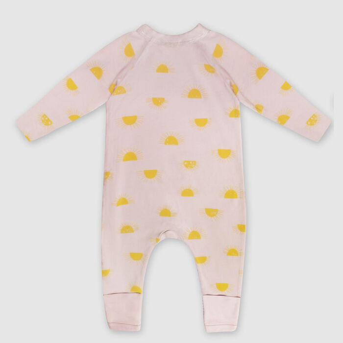Dim Baby Zip-up baby pyjama in beige organic cotton sun print, , DIM