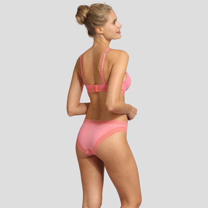 Coral pink soft padded triangle bra Dim Trendy Micro, , DIM