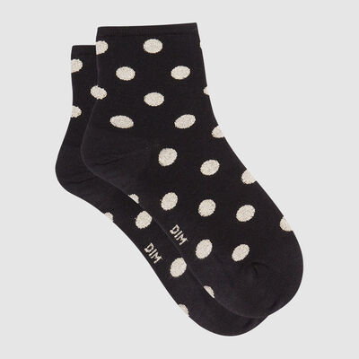 Cotton Style women's polka dot ankle socks in black cotton and gold lurex, , DIM
