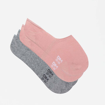 Basic Cotton 2 pack sneaker socks in grey and pink, , DIM