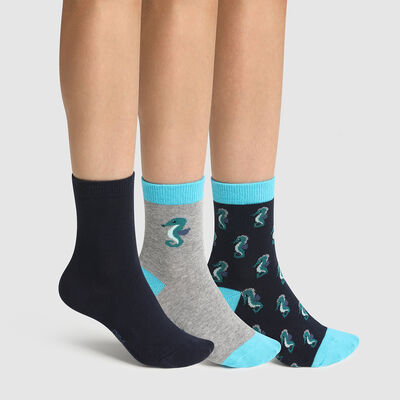Pack of  3 pairs of children's socks with seahorse motif Cotton Style, , DIM
