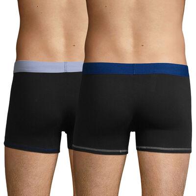 2 Pack cotton trunks Black & Sky Blue and Black & Azure Blue Color Mix, , DIM