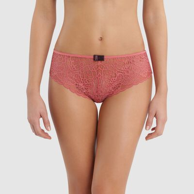 Lace cedar pink shorty with caramel-colored flat bow -  Sublim Fashion, , DIM