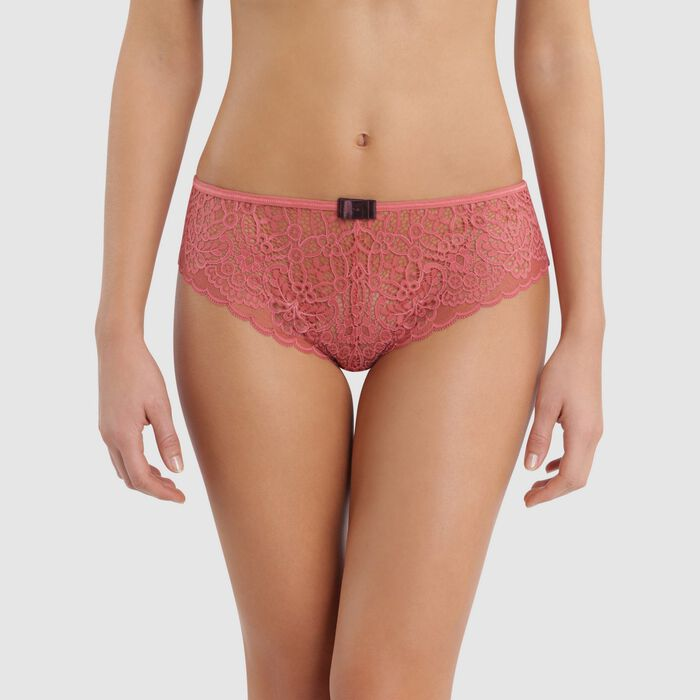 Shorty dentelle rose cedar & nœud marron caramel -  Sublim Fashion, , DIM