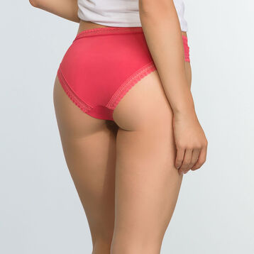 Casual Red microfiber brief Micro Lace Panty Box, , DIM