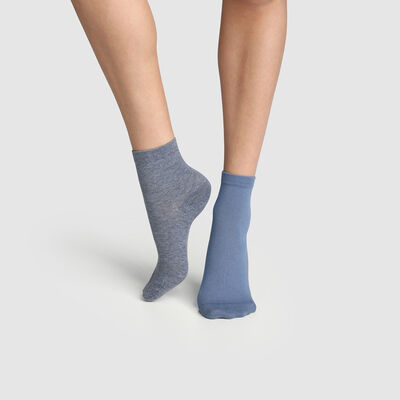 Pack of  2 pairs of Midnight Blue Women's Socks Denim Basic Cotton, , DIM