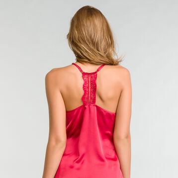 Caraco de pyjama en satin et dentelle rose - Glamour, , DIM