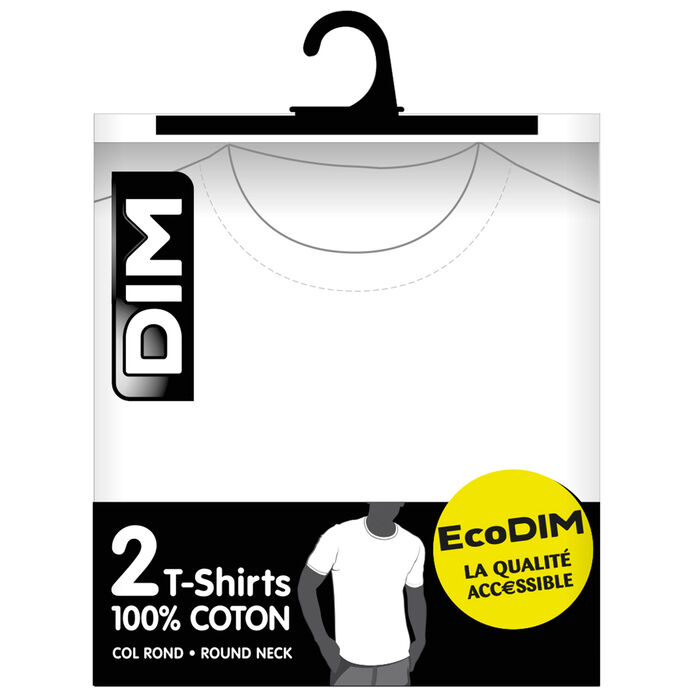 Pack of 2 white EcoDIM crew-neck T-shirts in pure cotton, , DIM