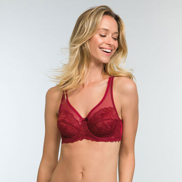 Cherry red full cup lace bra Generous Essentiel, , DIM