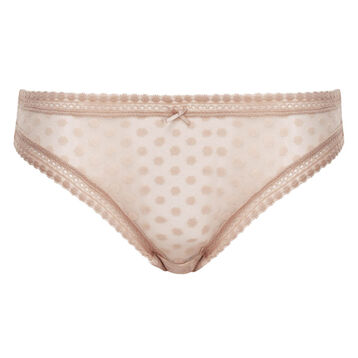 Nude Pink women's polka dot tulle briefs Dotty Mesh Panty Box, , DIM