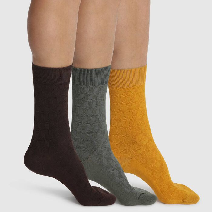 3 pack calf socks in Brown Russet and Khaki Coton Style, , DIM