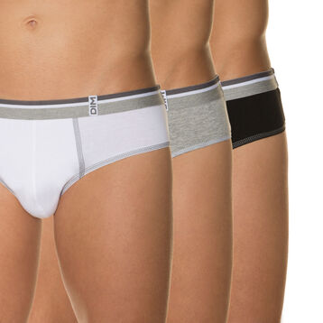 Pack of 3 Long Life pure cotton briefs for men, , DIM