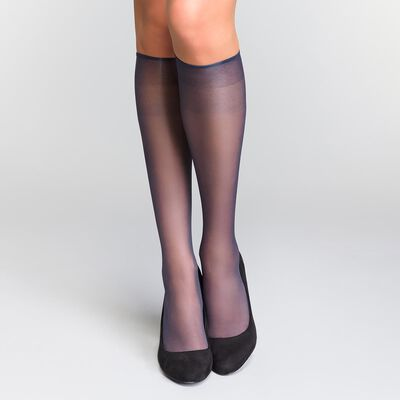 Pack of 2 Sublim Voile Brillant 15 sheer knee highs with a satin sheen in navy, , DIM