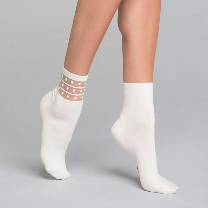 2 pack ivory white socks - Dim Skin Fancy, , DIM