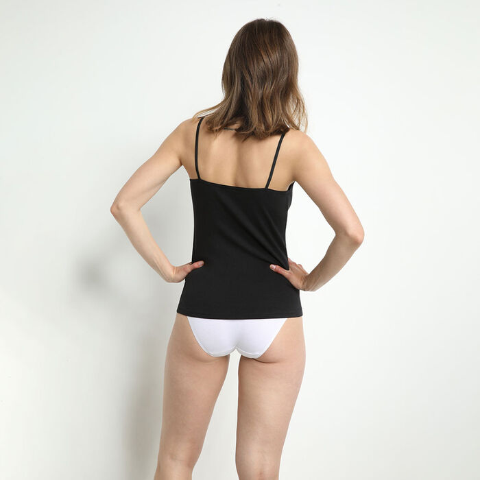 Pack of 2 Les Pockets Coton camisoles in black and white, , DIM