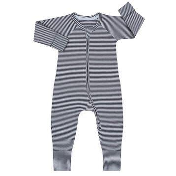 Pyjama zippé en Coton Stretch rayé Gris foncé et blanc, , DIM