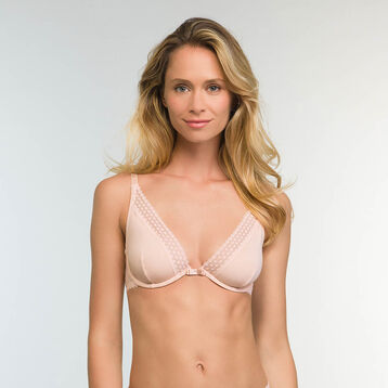 Trendy Micro Triangle Push up Bra in Nude Pink Microfiber, , DIM