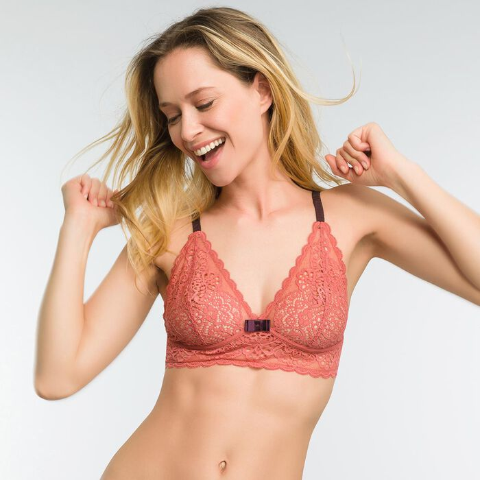 Lace old rose non-wired bra with brown bow - Dim Sublim, , DIM