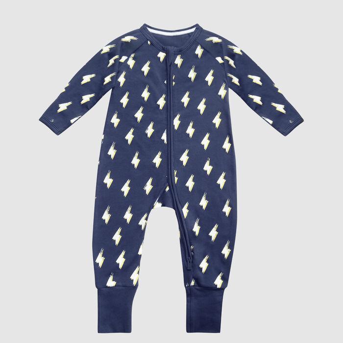 Dim Baby pyjamas with zip, dark grey cotton stretch with herringbone lightning print, , DIM