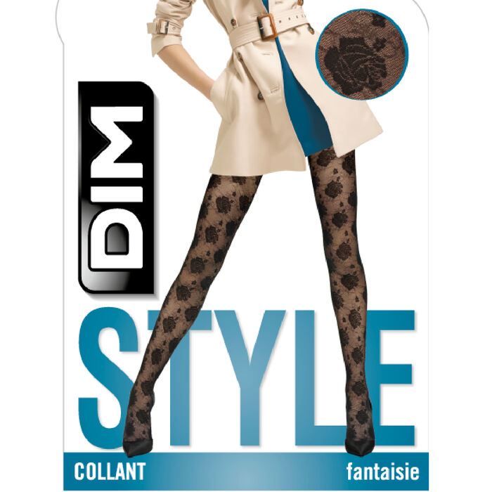 Fancy printed tights with black seams 20D Dim Style, , DIM