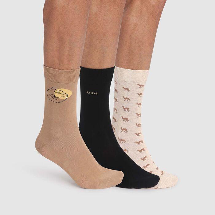 Cotton Style 3 pack men's socks in beige with desert print, , DIM