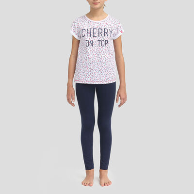 Sailor blue leggings and t-shirt cotton pyjama set Dim Girl, , DIM