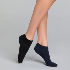 2 pack black and blue women's ankle socks  - Dim Basic Coton, , DIM