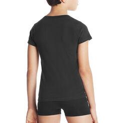 Black DIM Boy pure cotton V-neck short sleeved T-shirt - DIM