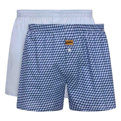 2 pack men's 100% cotton  loose boxers shorts in Sky Blue and Cube Print, , DIM