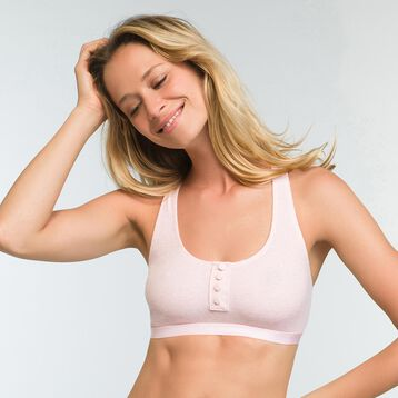 Mottled light pink bra in stretch cotton Casual Line, , DIM