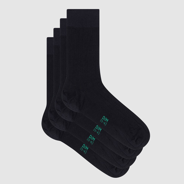 Pack of  2 pairs of Lyocell men's ribbed socks Marine Green by Dim, , DIM