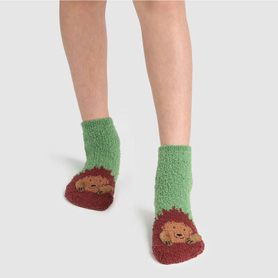 Non-slip 3D Green Kids Cocoon hedgehog pattern sock, , DIM