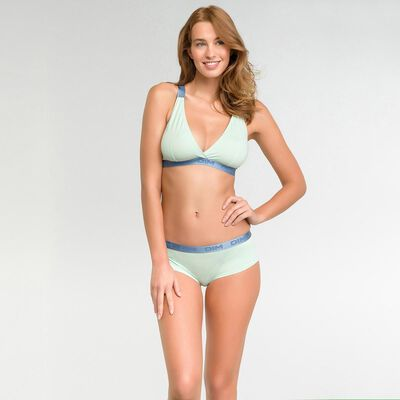 Pale green triangle bra in cotton - Les Pockets Limited Edition, , DIM