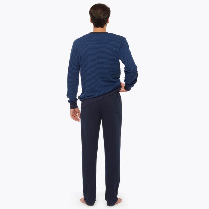Men's Night Blue Striped Pyjama Set, , DIM