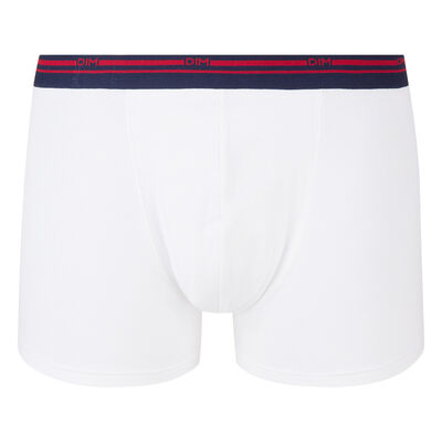 Classic stretch cotton trunks in white with contrast waistband DIM Colors, , DIM