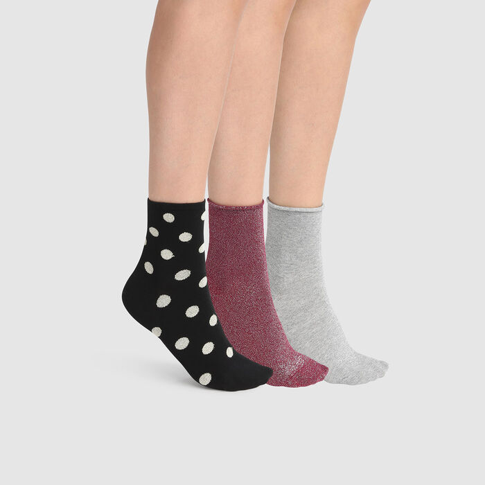 Dim Gift Pack pack of 3 pairs of lurex ankle socks Black Grey Burgundy, , DIM